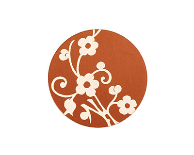 Lillypilly Bronze Floral Vine Anodized Aluminum Disc 25mm, 24 gauge