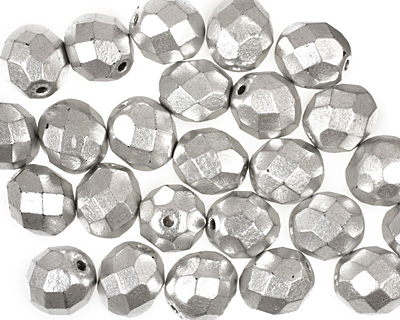 Czech Fire Polished Glass Matte Metallic Aluminum Round 8mm