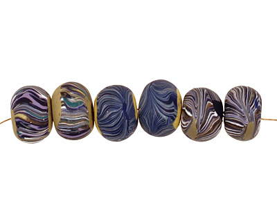 Humble Beads Polymer Clay Navy Tiny Disk 7x10-11mm