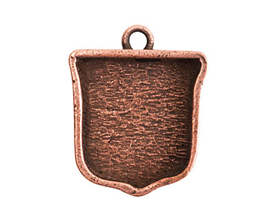Nunn Design Antique Copper (plated) Crest Ensign Bezel Pendant 20x24mm