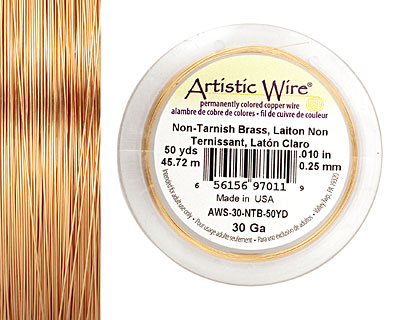 Artistic Wire Non-Tarnish Brass 30 gauge, 50 yards