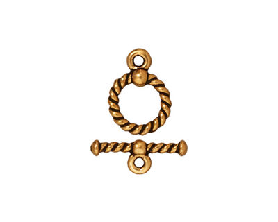 TierraCast Antique Gold (plated) Twisted Toggle Clasp 14x10mm, 15mm Bar
