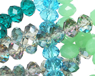 Sea Breeze Crystal Mix Faceted Rondelle 8mm