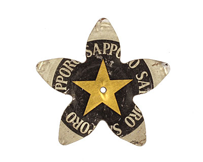 Trinket Foundry Black & Gold (Star) Large 5 Petal Bottle Cap Flower 34mm