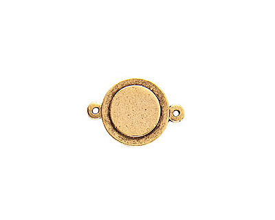 Nunn Design Antique Gold (plated) Raised Tag Mini Circle Connector 25x13mm