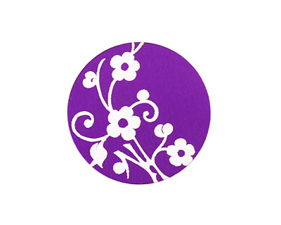 Lillypilly Purple Floral Vine Anodized Aluminum Disc 25mm, 24 gauge