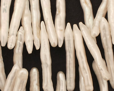 Pearly White Biwa Stick Top-Drilled 22-40mm