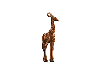Stampt Antique Copper (plated) Giraffe Charm 7x23mm