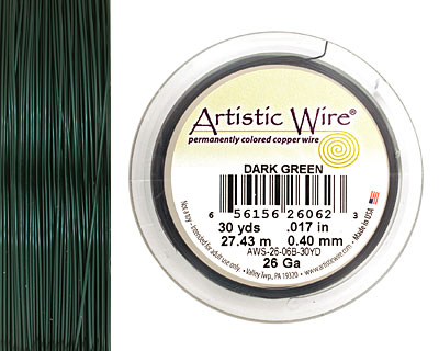 Artistic Wire Dark Green 26 gauge, 30 yards