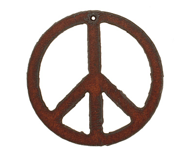 The Lipstick Ranch Rusted Iron Peace Pendant 52mm