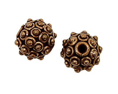 Antique Copper Round with Dots 15mm