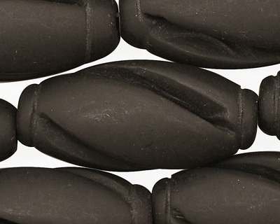 Brazil Black Stone (matte-finish) Carved Rice 34x16mm