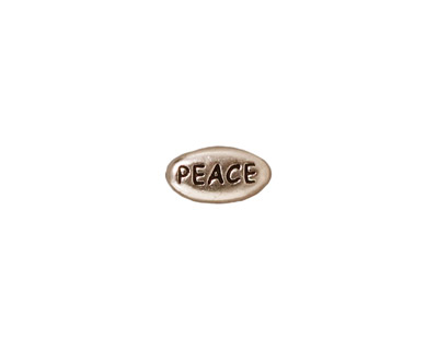 TierraCast Antique Rhodium (plated) Peace Word Bead 11x6mm