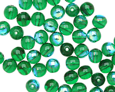 Czech Glass Green Emerald AB Round 6mm