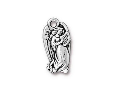 TierraCast Antique Silver (plated) Angel Charm 11x22mm
