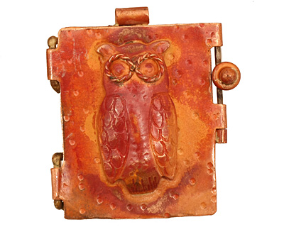 Patricia Healey Copper Owl Locket 40x44mm