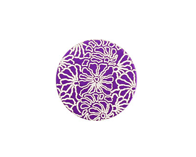 Lillypilly Purple Weathered Daisy Anodized Aluminum Disc 19mm, 24 gauge
