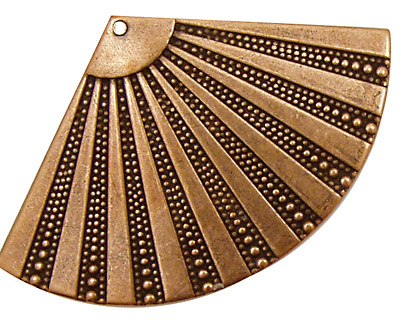 Stampt Antique Copper (plated) Beaded Fan 55x35mm