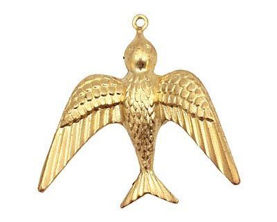 Brass Soaring Sparrow Pendant 36x35mm
