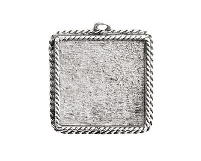 Nunn Design Antique Silver (plated) Large Ornate Square Bezel Pendant 30x34mm