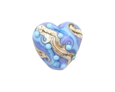 Grace Lampwork Blue Freestyle Heart 19-20mm
