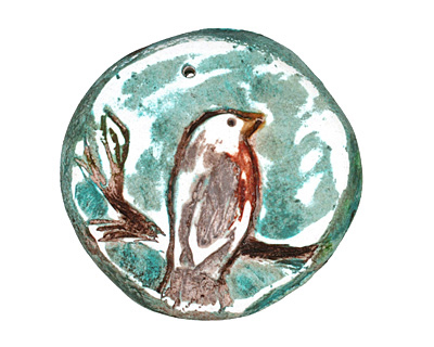 Humble Beads Polymer Clay Teal Robin Pendant 34mm