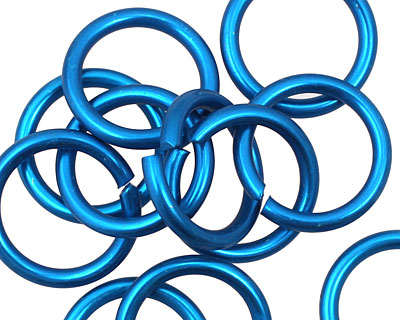 Turquoise Anodized Aluminum Jump Ring 18mm, 12 gauge (13.1mm inside diameter)