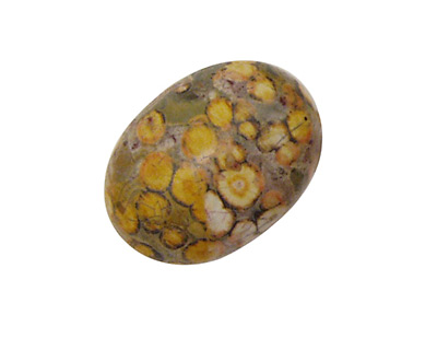 Yellow Leopardskin Jasper Oval Cabochon 18x25mm