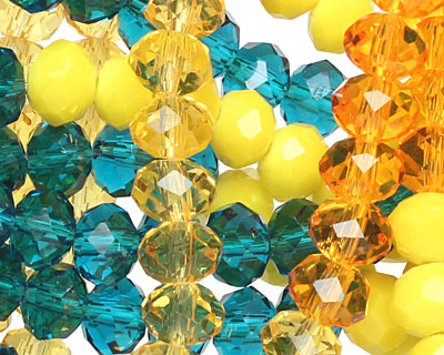 Sunny Skies Crystal Mix Faceted Rondelle 6mm