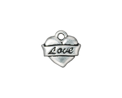 TierraCast Antique Silver (plated) Love Heart Charm 14mm