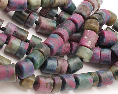 Ruby Zoisite (matte) Barrel Rondelle 10mm