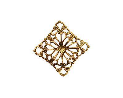 Stampt Antique Gold (plated) Floral Square Filigree 15mm