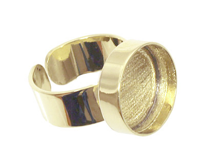 Brass Adjustable Ring Circle Bezel 17mm