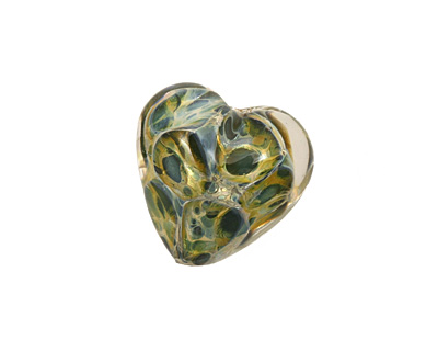 Grace Lampwork Blue w/ Green Boro Heart 19-20mm