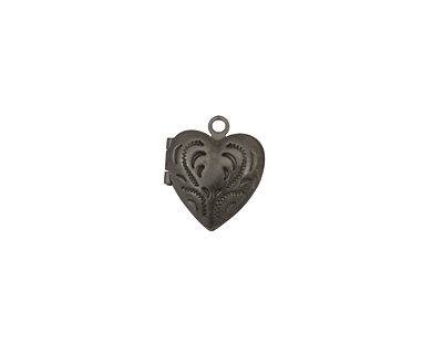 Gunmetal Tiny Pressed Heart Heirloom Locket 13x15mm
