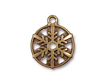 TierraCast Antique Gold (plated) Snowflake Drop 19x24mm