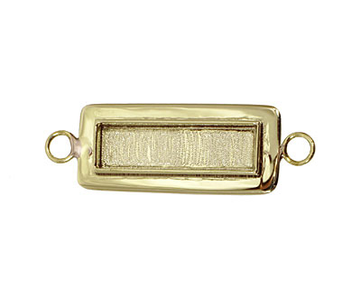 Brass Lipped Narrow Rectangle Bezel Link 12x36mm