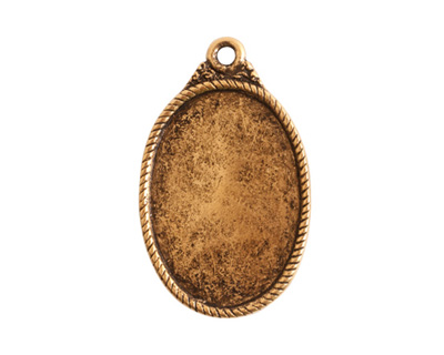 Nunn Design Antique Gold (plated) Ornate Flat Oval Tag 17x29mm