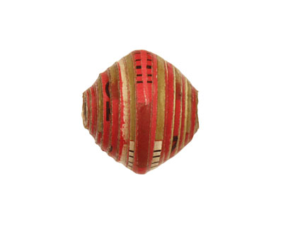 African Paper (red, camo, w/ black) Bicone 20x21-22mm