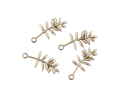 Stampt Antique Pewter (plated) Olive Branch Charm 6x15mm
