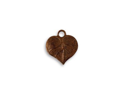 Vintaj Artisan Copper Teensie Nouveau Leaf Charm 12x13mm