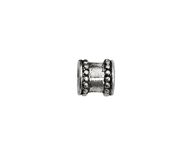 Pewter Beaded Barrel (Large Hole) 9mm
