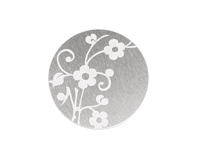 Lillypilly Silver Floral Vine Anodized Aluminum Disc 25mm, 22 gauge