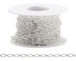 Silver (plated) Flat Diamond Chain, 25ft Spool